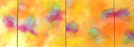 Frühlingsfrische - 4er Serie - 2013 - 50 x 200 x 4 cm auf Leinwand - verkäuflich - Acryl